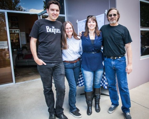The Restoration Center for Audio Archives' Naropa team: Paul Humphrey, Angie Mickle, project manager Anna Frick, and Jon Gold